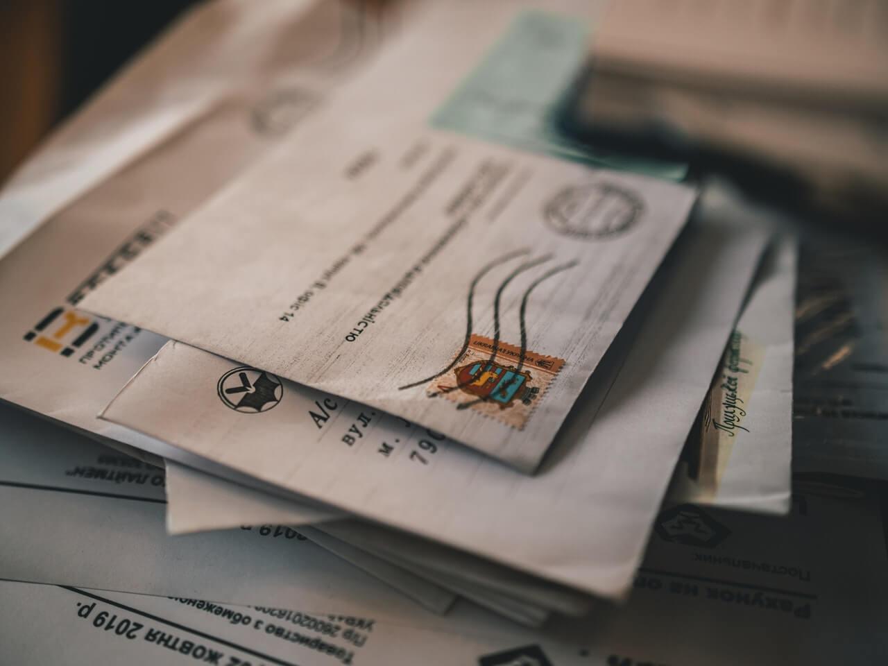 stamps on envelopes