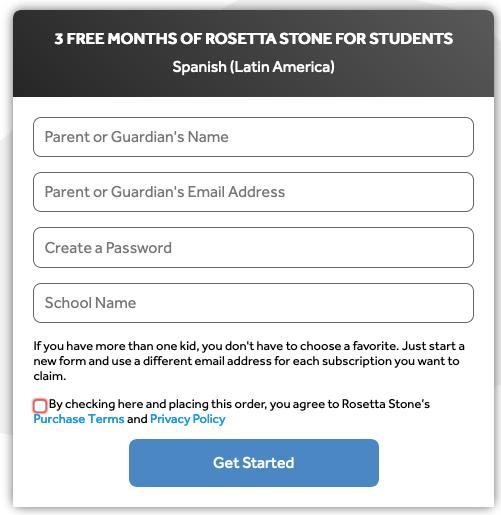 Rosetta Sign Up Screen