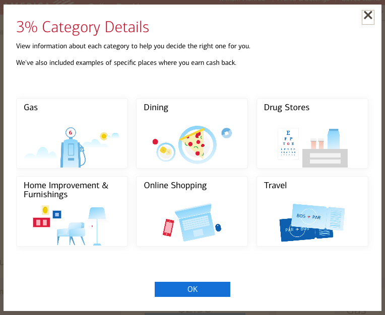 BOA 3% categories