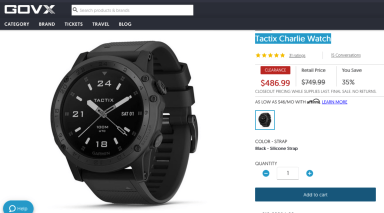 Garmin Tactix Charlie Watch