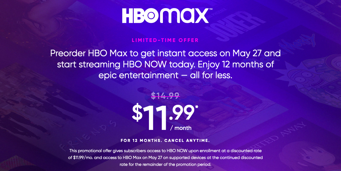 (Expired) Preorder HBO Max for 20% off for 12 months ...