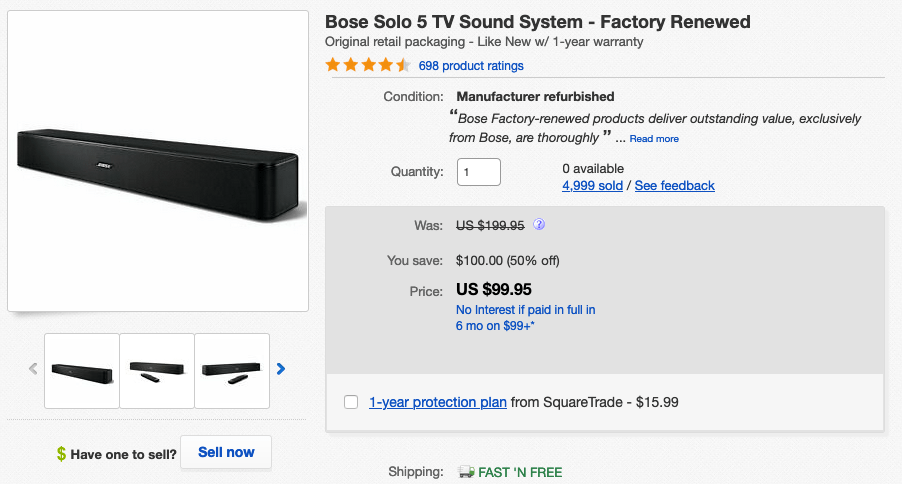 Bose Solo 5 on Ebay