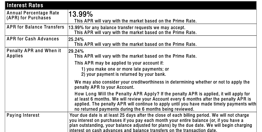 cardmember agreement interest rates