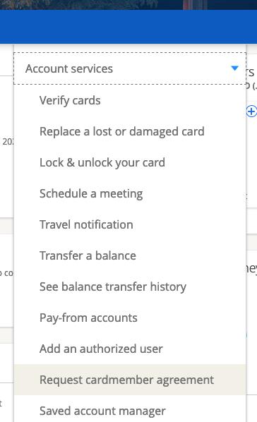 cardmember agreement navigation