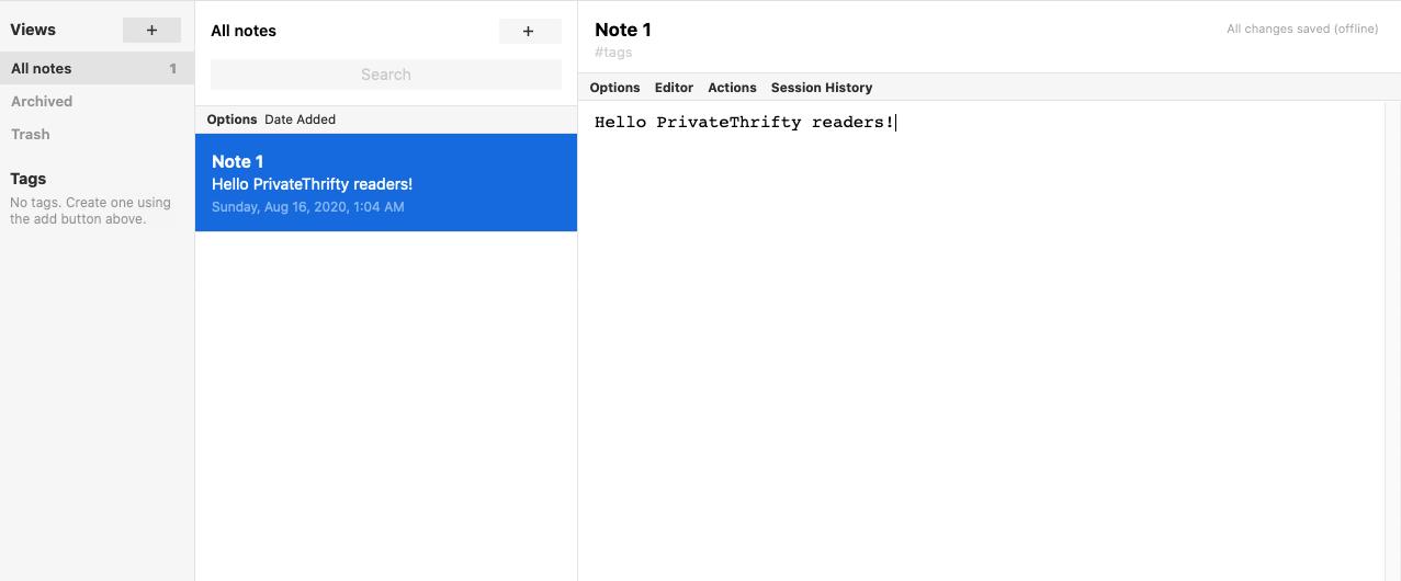 Screenshot of standardnotes