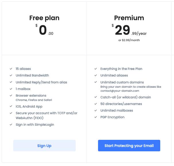 Free vs premium simplelogin
