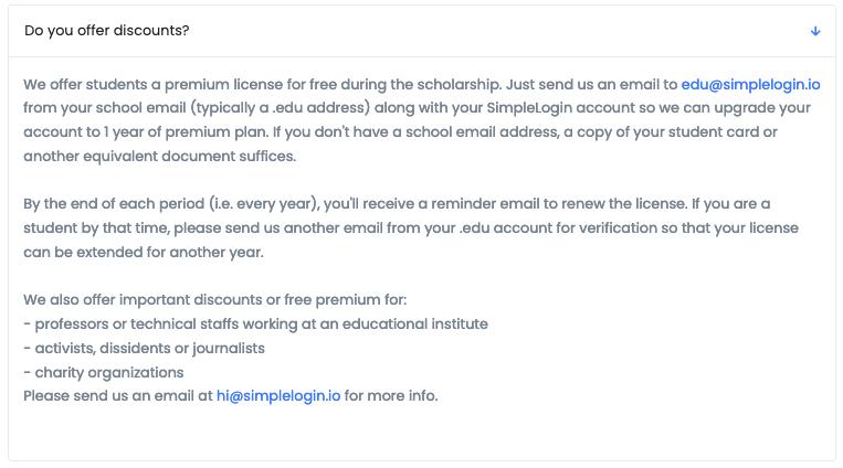 simplelogin.io student discount wording