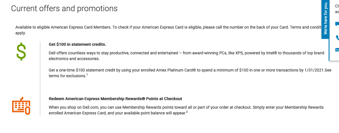 Dell $100 Amex Offer