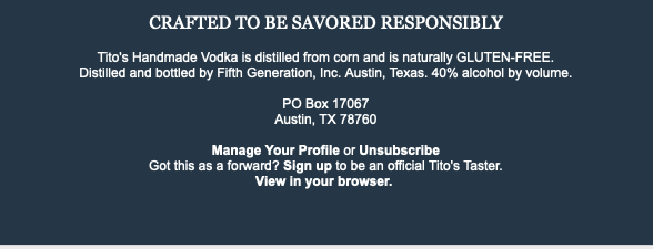 Tito's Tasters email