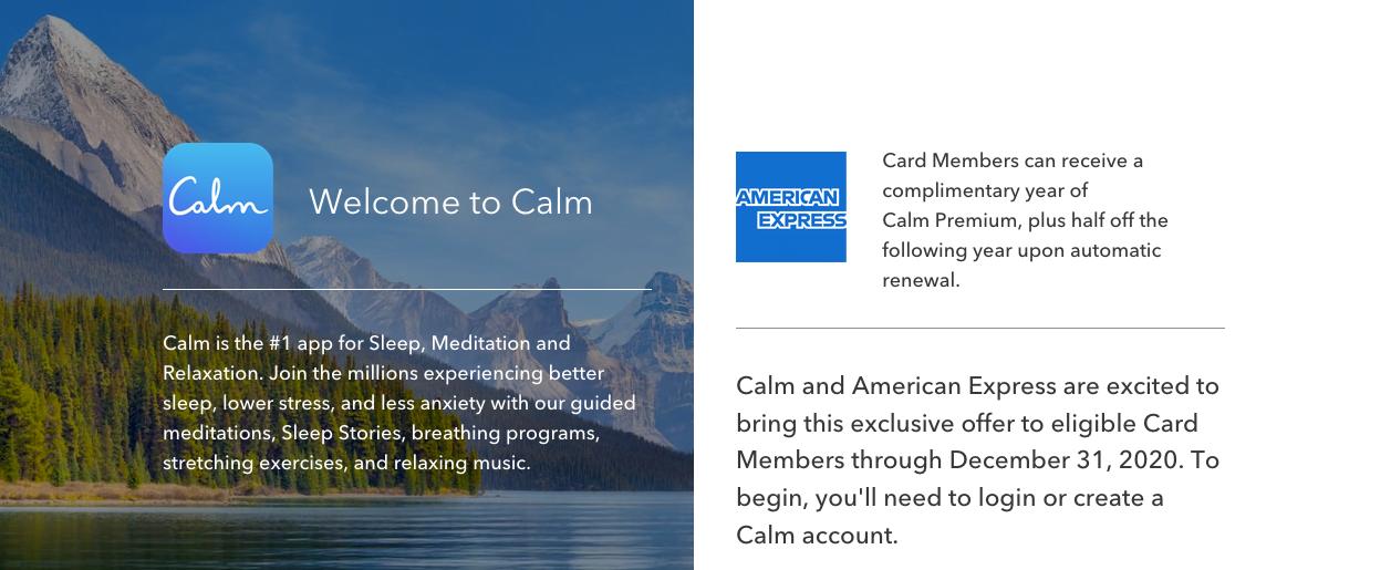Calm Amex offer