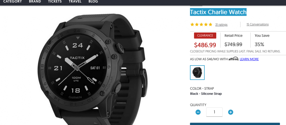 Garmin Tactix Charlie Watch