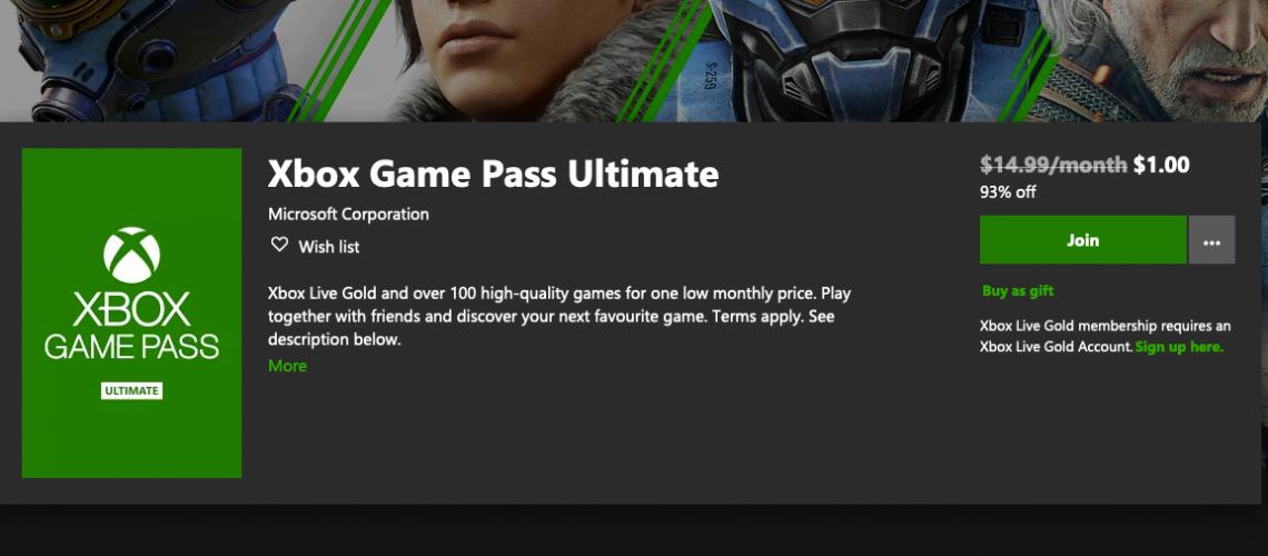Xbox Game pass $1